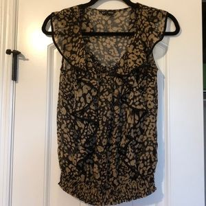 Express Black & Tan Leopard-like Print Top XS
